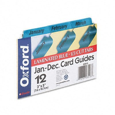 Oxford® Laminated Index Card Guides, Monthly, 1/3 Tab, Manila, 3 x 5, 12/Set