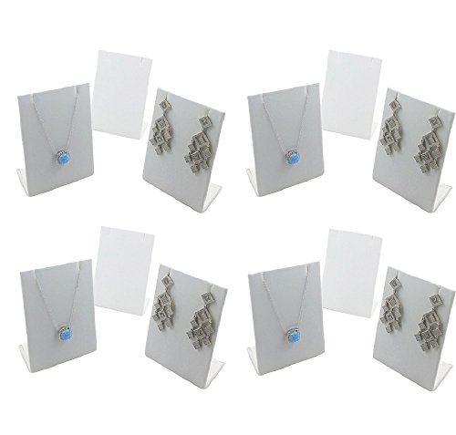 (FlanicaUSA 12 pcs White Leatherette Pendant Chain Necklace Earring Display Stand 3.5