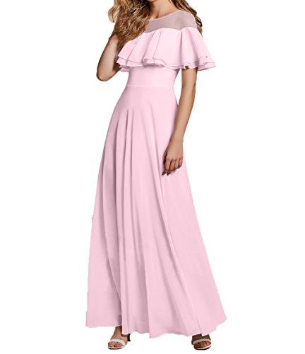 Promkleider Charmant Lang Tanzenkleider Damen Chiffon Brautmutterkleider Elegant Rosa Abendkleider Partykleider FIqOF