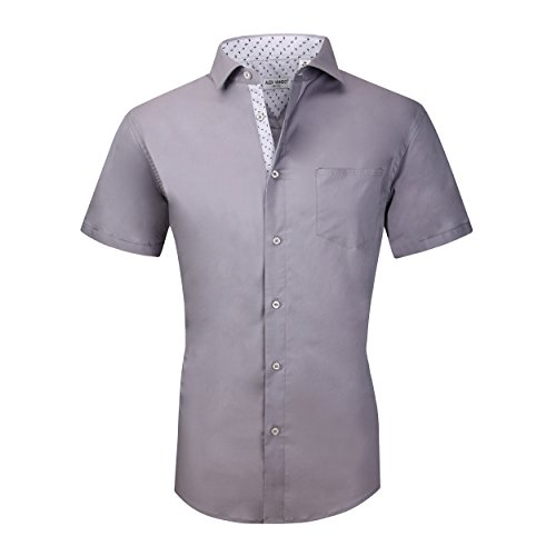 Alex Vando Mens Dress Shirts Cotton Poplin Spandex Short Sleeve Regular Fit Casual Spread Collar Shirt(Gray,Small)