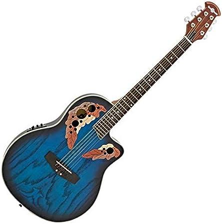 Guitarra Electroacustica Deluxe Roundback de Gear4music Blue Burst ...