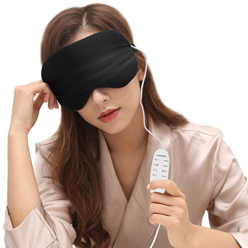 Heated Eye Mask USB Warm Sleep Silk Steam Mask, Far-Infrared Health Care, Warm Therapeutic Treatment for Dry Eye, Dark Circles with Adjustable Strap, Washable Silk Eye Cover, 6.5 ft cable by DTOWER