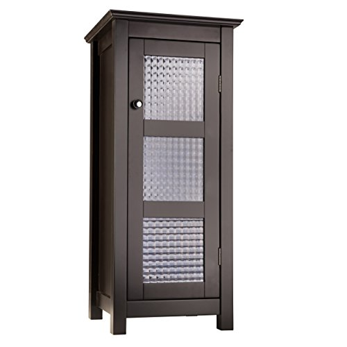 Elegant Home Fashions Chesterfield Collection Shelved Floor Cabinet with Glass-Paneled Door, ()