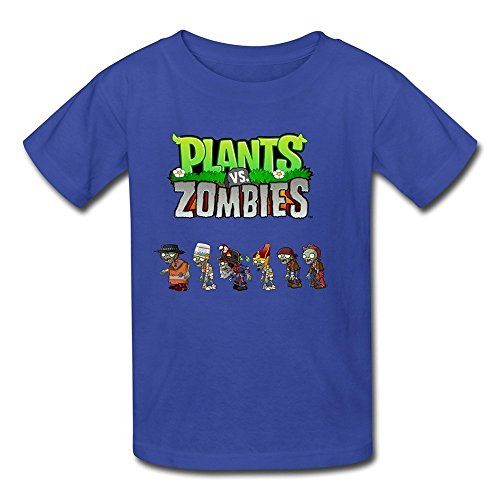 Flycro Kid's Cool Plants Vs. Zombies T-shirts Size S RoyalBlue (Zombie Clothing)