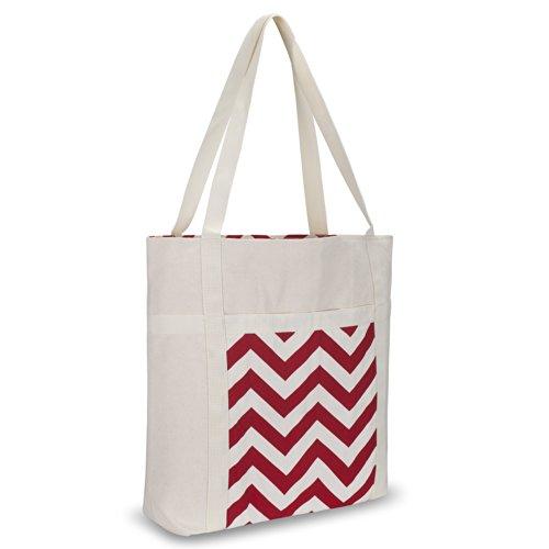 Kuzy - Red Chevron Zig-Zag Beach Bag Handmade from Heavy ...
