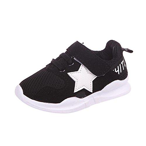JIANGFU Jungen und Mädchen Sportschuhe, Kleinkind Kinder Star Letter Soft Sport Laufschuhe Sneaker Baby Mesh Schuhe Schwarz