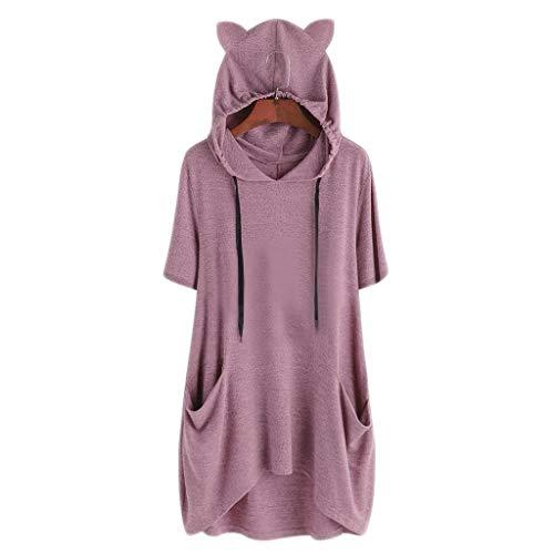 〓COOlCCI〓Cat Graphic Women Sweatshirt Long Sleeve Pullover Hoodies Tops Pocket Irregular Loose Top Blouse Hoodies Sport Pink