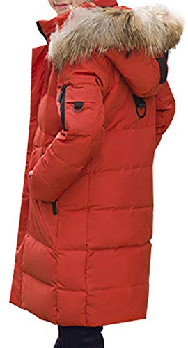 Boy Hooded SellerFun Orange Long Trim Padded Overcoat Fur Style Duck Parka E with Down Thick Jacket Mid Puffer Winter dSS5rwx
