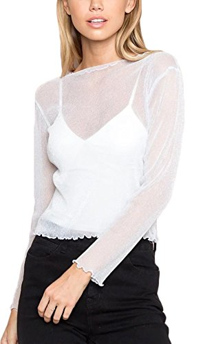 RoseSummer Women's Sexy Clubwear Mesh Sheer See Through Long Sleeve Tops Shirts Blouse Bling (White) (Sleeves Long Fishnet White)