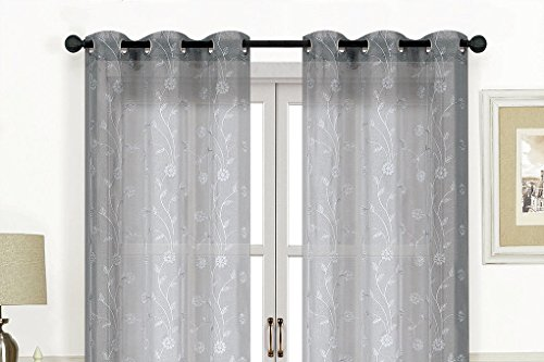 LACY METALLIC EMBROIDERED GROMMET TOP CURTAIN PAIRS, SEMI SHEER SNOW VOILE 84 inches long (Silver/Silver) For Sale