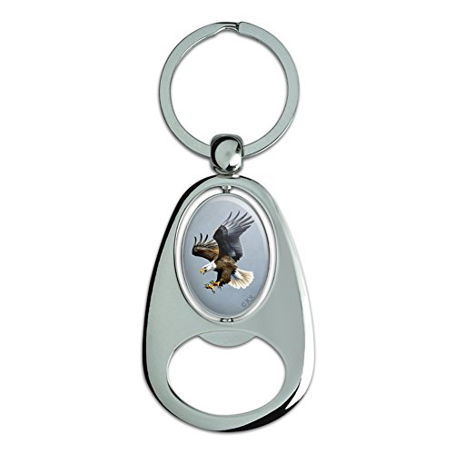 Keychain Eagle Bald (Graphics and More Screaming Bald Eagle Diving Catching Prey Chrome Plated Metal Spinning Oval Design Bottle Opener Keychain)