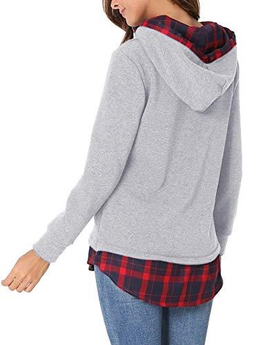 Hellgrau Lunga Mujeres Invernali Autunno Elegante Felpa Classiche Donna Ragazze Moda Cappuccio Diagonale Hoodie Jumper Reticolo Giovane Manica Caldo Cucitura Unq7nAxT