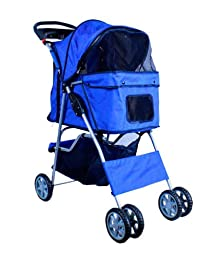 New Deluxe Folding 4 Wheel Pet Dog Cat Stroller Carrier w Cup Holder Tray - Blue