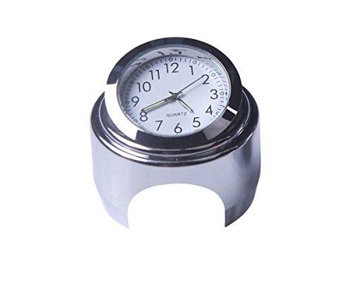 Lanlan Motorcycle Handlebar Clock Thermometer Waterproof Dial Handlebar Mount for Yamaha Kawasaki 22mm-25mm White dial clock watch