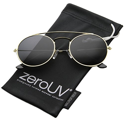 zeroUV - Retro Fashion Minimal Thin Metal Brow Bar Round Sunglasses 52mm (Gold / Smoke) (Brow Bar)