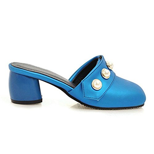 On Heels Women Mules TAOFFEN Blue Fashion Slip xEqXwwpdCn