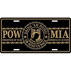 US Military & Patriotic License Plate - POW & MIA Prisoner of War Missing In Action