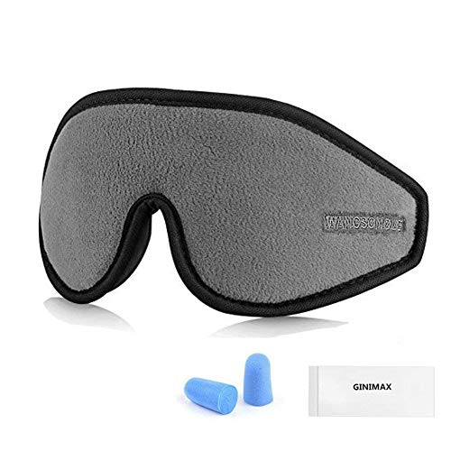GINIMAX 3D Sleep Eye Mask Cover Ear Plugs, Light Blocking Memory Foam Eye Mask Adjustable Strap Sleeping/Shift Work/Naps/ Night Blindfold Eyeshade Men Women