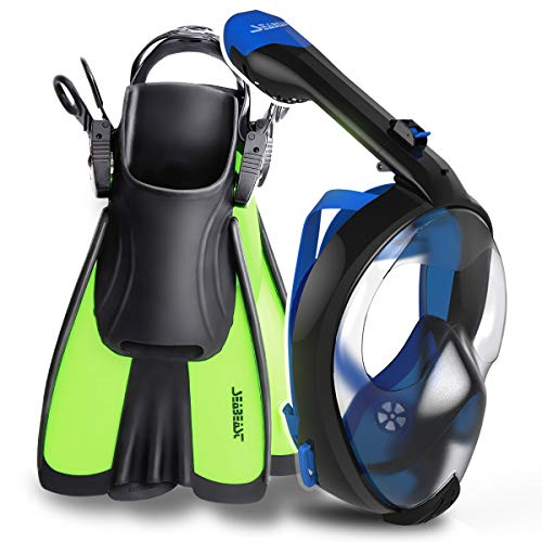 (SEABEAST Snorkel Set with AF90 Full Face Snorkeling Mask and SF01 Open Foot Snorkel Fins?)