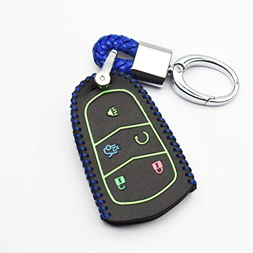 (ontto 5 Buttons PU Leather Key Fob Cover Bag Fit for Cadillac Escalade CTS SRX ATS STS CT6 Remote Smart Key Fob Key Case with Keychain Blue String)