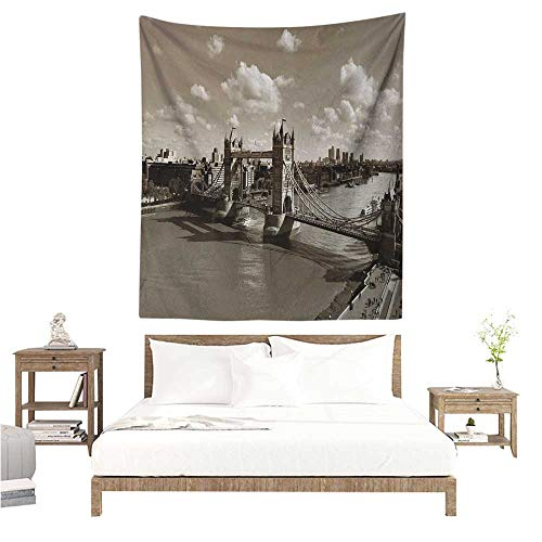 Meikxf Travel Living Room Tapestry Tower Bridge in London City Cloudy Sky Old Historic Cityscape Nostalgia England Tapestry for Home Decor 60W x 80L INCH Sepia White ()