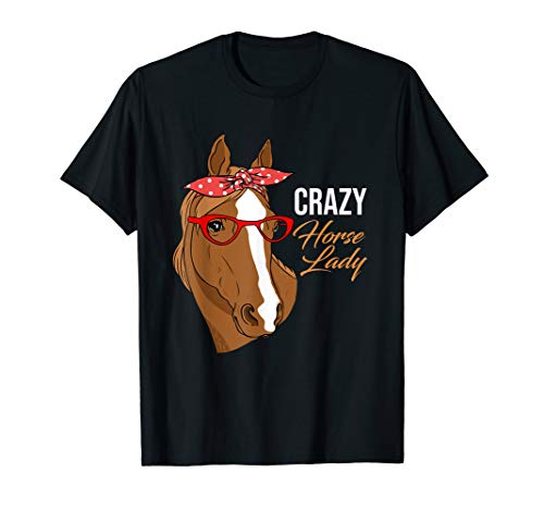 (Crazy Horse Lady T-Shirt | Horse Bandana Shirt For Horse Mom)