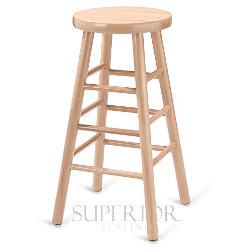 Backless Commercial Wood - Natural Traditional Backless Wood Commercial Bar Stool