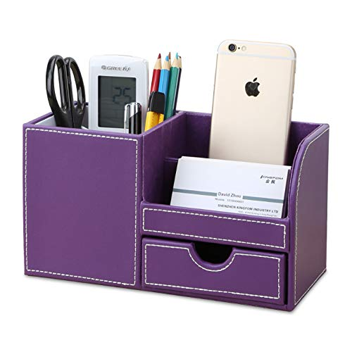 KINGFOM Wooden Struction Leather Multi-Function Desk Stationery Organizer Storage Box Pen/Pencil,Cell Phone, Business Name Cards Remote Control Holder with Small Drawer Purple -