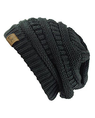 Trendy Warm Chunky Soft Stretch Cable Knit Beanie Skully, Charcoal