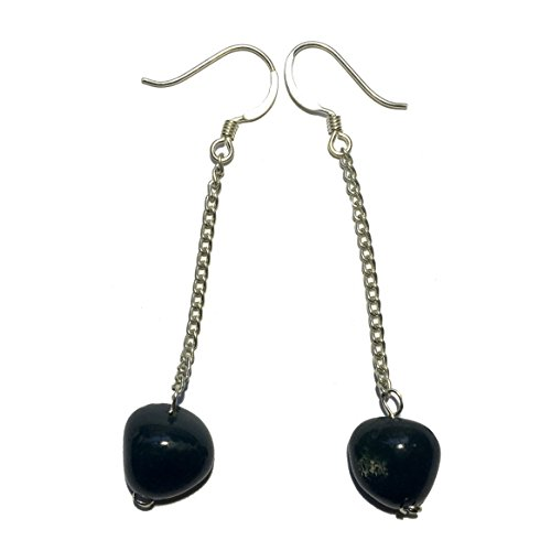 Bloodstone Earrings 14 Nugget Silver Chain