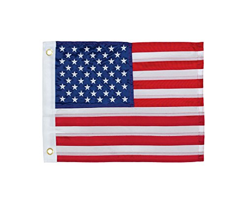 In the Breeze US Flag Embroidered Grommeted Boat Flag, 12 by 18-Inch