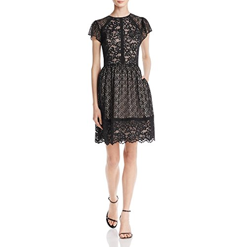 3616d4e6163a8 Aidan by Aidan Mattox Womens Lace Illusion Cocktail Dress Black 2