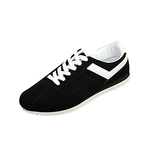 - Sumen Mens Casual Skate Shoes, Comfortable and Durable Rubber Flat Sole Lace-up Sneakers Black