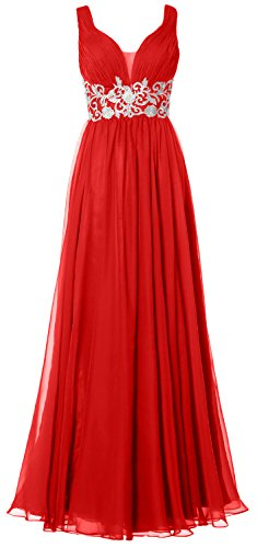 MACloth Women Straps V Neck Long Prom Dress Vintage Wedding Party Formal Gown (2, Red) (80s Fancy Dress Plus Size)