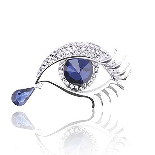 Reizteko Brooch Lapel Pin Shawl Clip Corsage in Crystal Rhinestone Alloy, Jewelry Gift for Women Men (Tear Silver)