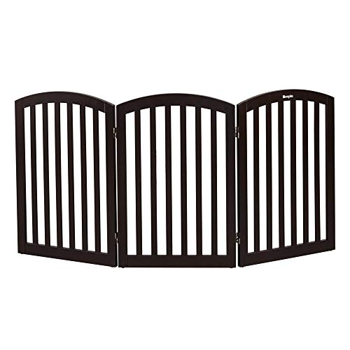 "Bonnlo Free Standing 30"" Tall Dog Gates for Doorways Indoor Stairs Wooden 3 Panel Pet Gate 