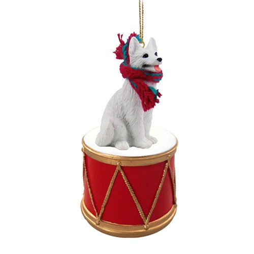 Little Drummer German Shepherd White Christmas Ornament - Hand Painted - Delightful by Animal Den