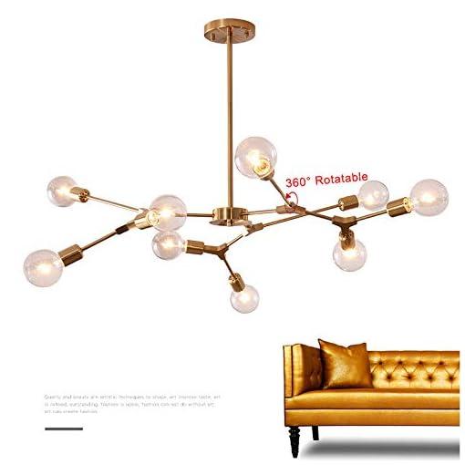 Interior Lighting KCO Modern Sputnik Chandelier Brushed Brass Hanging Lamp Industrial Flush Mount Ceiling Light Fixture Adjustable Hanging… modern ceiling light fixtures
