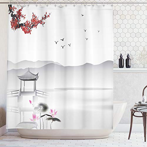 - Ambesonne Asian Decor Collection, Japanese Asian Style Garden with Bird and Small Pavilion Over the Lake Lotus Waterlily, Polyester Fabric Bathroom Shower Curtain, 75 Inches Long, Grey Pink Red