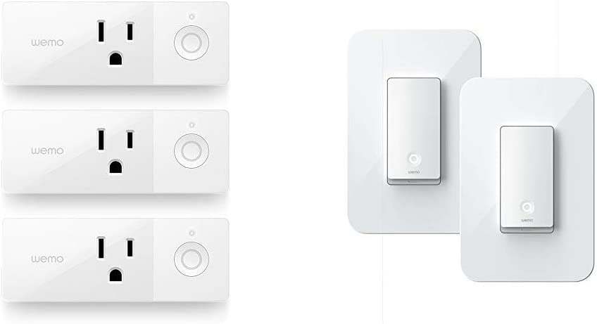 WeMo Mini Smart Plug & Wi-Fi Light Switch 3-Way 2-Pack Bundle - Control Lighting from Anywhere, Easy in-Wall Installation, Works with Alexa, Google Assistant and Apple HomeKit (WLS0403-BDL)