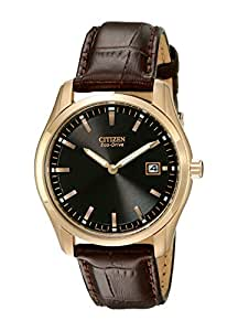 "Citizen Men's AU1043-00E ""Eco-Drive"" Stainless Steel Watch with Brown Leather Band"