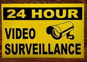 KARPP 24 Hour Video Surveillance 100% Magnetic Sign 8x12 New- Business, Nostalgic, Retro, Vintage and Funny Signs