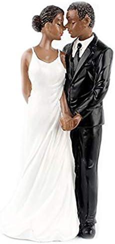 ACAMPTAR 結婚記念日用ウエディングケーキトッパー樹脂アフリカアメリカのカップル置物センターピースの装飾ブラック新カップル