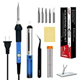 LDK Soldering Iron, Soldering Iron Kit Electronics 60W 110V Adjustable Temperature Welding Tool with 5pcs Different Tips, Stand, Tweezers, Sponge, Desoldering Pump and Solder Wire Tube (Blue)