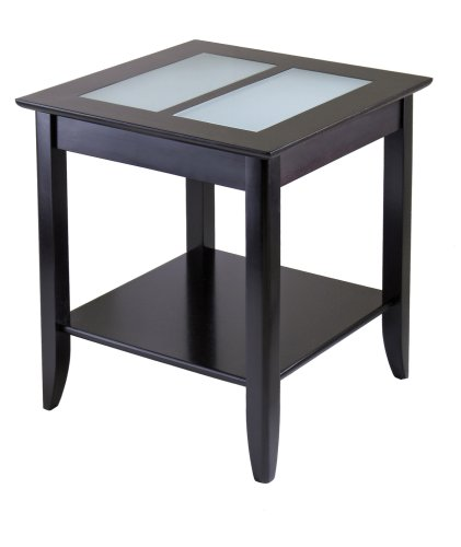 Winsome Wood Syrah End Table With Frosted Glass, Shelf