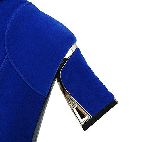Allhqfashion Femmes Bout Rond Bout Fermé Matériaux Haut-haut Bottes Bleues Charmes
