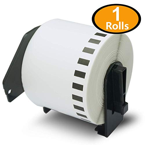 BETCKEY - 1 Rolls Compatible Brother DK-2205 62mm x 30.48m(2-3/7 x 100) Continuous Length Paper Tape Labels With Refillable Cartridge