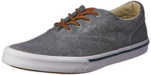 (SPERRY Men's Striper II CVO Washed Sneaker, Grey, 15)