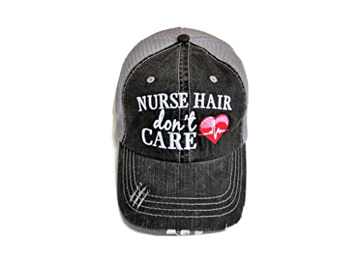 Embroidered Nurse Hair Don't Care Distressed Look Grey Trucker Cap Hat