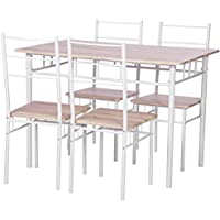 Merax 5 Piece Dining Set Table and Chairs Kitchen Modern Furniture with Steel Frame (Natural)
